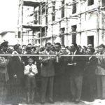 Emilio Colombo e Alcide De Gasperi, inaugurano Rione Passarelli, Matera, 1950