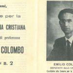 """Riproduzione del primo """"santino elettorale"""" di Emilio Colombo, 1948"""