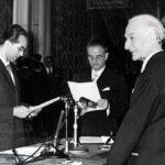 Emilio Colombo presta giuramento come ministro dell'Agricoltura e Foreste, Roma, 6/07/1955